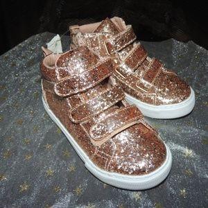 Toddler Shoe SZ 8 BABY GAP Rose Gold Glitter Shoes